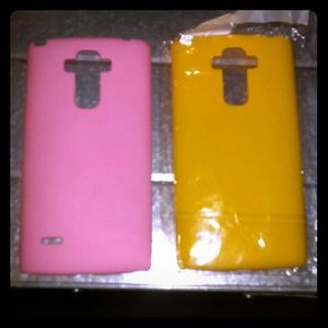 Accessories - 2 LG Stylo Plastic Phone Cases Yellow & Pink